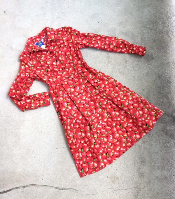 "Red Apple Print Shirt Dress Medium Bust 37-38"", Large Bust 39-40"""