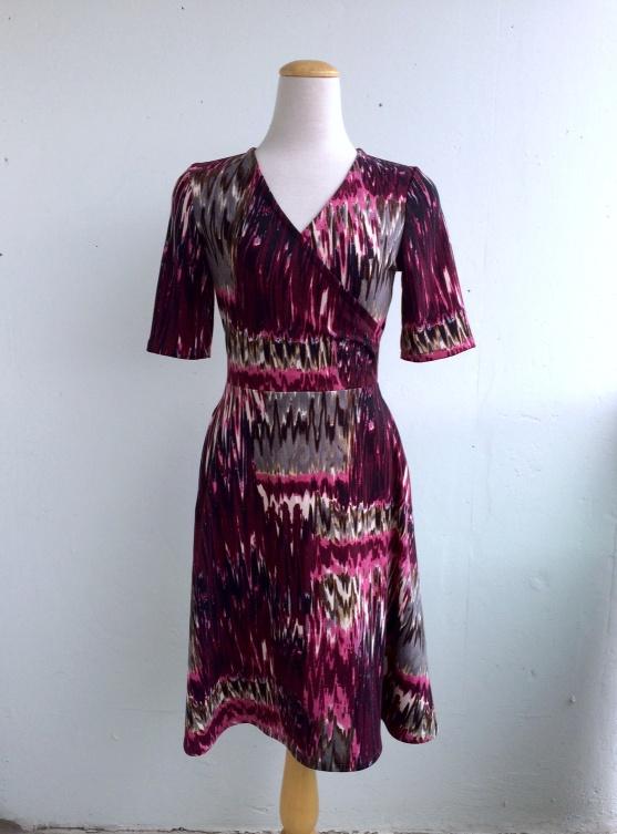 "Half Wrap Dress With Pockets in Purple and Charcoal Print Knit Fabric Small B 34-35"", Medium B 38-39"" Large B 40-41"", XL B 44-45"""