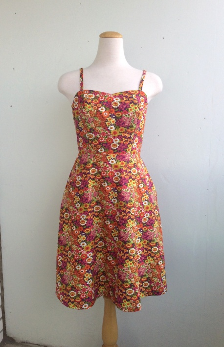 Summer Picnic Sundress Fit and Flare Dress in Multicolour Floral Print Cotton Sizes S-2X Bust 35-47""